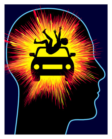 Car Accident Trauma. Concept sign of post-traumatic stress disorder after vehicle crash with casualty