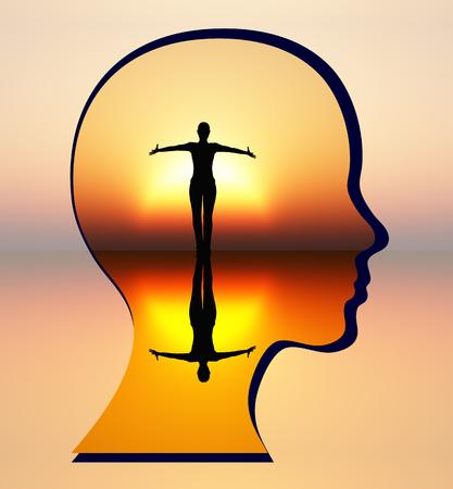 Vind je innerlijke rust. Vrouw silencing haar innerlijke criticus en het bereiken van innerlijke rust