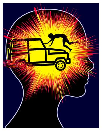 心的外傷後ストレス反応。女性の車の事故の外傷の概念記号