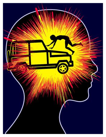 Post-traumatic Stress Reaction. Concept sign of a car accident trauma of woman