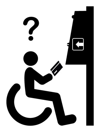 discriminate: Disability Discrimination. No accessibility of automated teller machines for wheelchair user Stock Photo