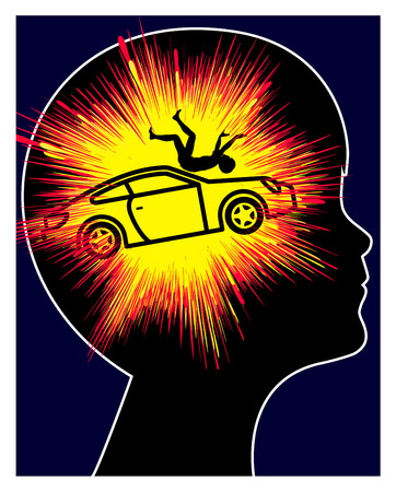 Child with car accident trauma. Kid suffers post-traumatic stress reaction due to traumatic experience