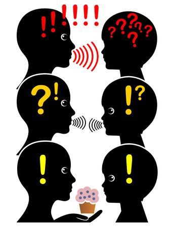 comunicarse: Estilos de comunicación de los padres. La madre y el niño se comunican de tres maneras diferentes, con diferentes resultados Foto de archivo