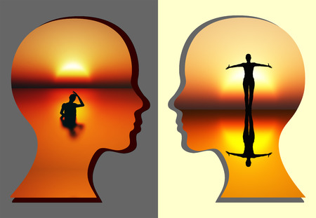 self discovery: Spiritual Renewal of Woman. Concept sign for the spiritual renewing of the mind Stock Photo