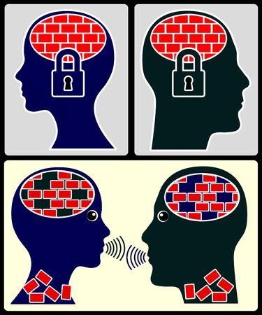 Tolerantie versus Onverdraagzaamheid. Praten met elkaar helpt om intolerantie en vooroordelen te overwinnen Stockfoto