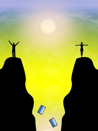 paz interior: Detox digital. Pareja liberarse de sus tel�fonos celulares para obtener la paz interior Foto de archivo