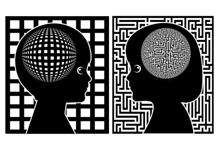 psicologia infantil: diferencias en función del cerebro en niños y niñas. cerebros femeninos y masculinos jóvenes y funcionan de maneras diferentes Foto de archivo