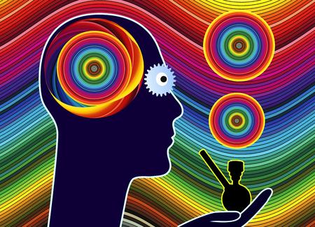 percepci�n: Fumar marihuana que se enciende. La marihuana envejecer las actividades de percepci�n del cerebro y hacer que se opaca Foto de archivo