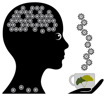 memory loss: Herbal Tea for Memory. Natural herbs can help to prevent or treat memory loss Stock Photo