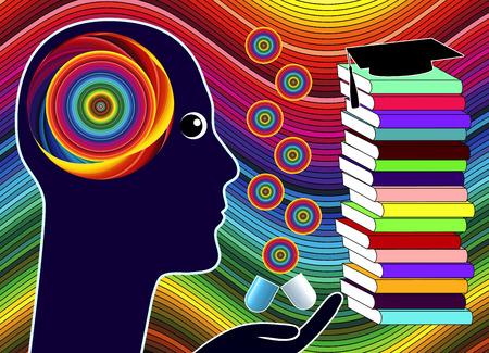 cognicion: Cognici�n drogas para mejorar. Los estudiantes que toman la medicaci�n para mejorar el rendimiento acad�mico Foto de archivo
