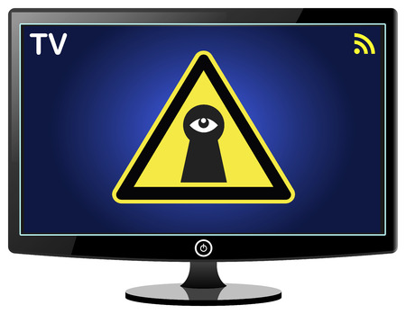 misuse: Smart TV spying on You. Smart TVs can track the way you use the television and share the data with third parties Stock Photo