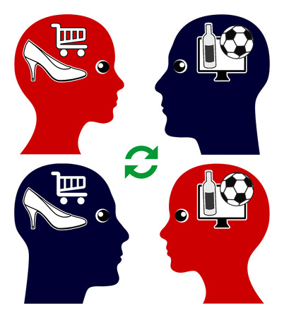 emotional intelligence: Couple and Emotional Intelligence. Man and woman try to understand eachothers point of view and desires, football versus shopping Stock Photo