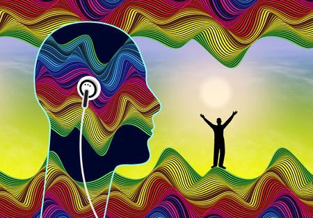Subliminal Audio Messages. Person listening to inaudible stimuli did lie below the conscious awareness to boost his self confidence