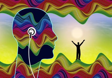 Los mensajes subliminales de audio. Persona que escucha a los estímulos inaudibles se encuentran por debajo de la conciencia para impulsar su confianza en sí mismo