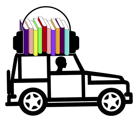 diversion: Audiobooks whileDriving. Concept sign of a female driver who makes use of the time by listening to talking books