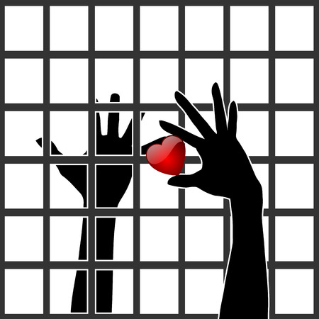 Love behind bars. Two people in love in spite of one being in prison
