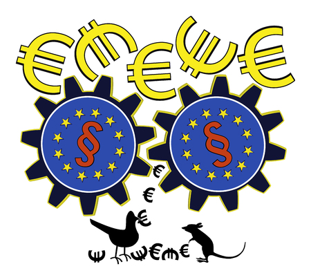 subsidy: EU is wasting money. Satiric concept sign of how European subsidy policy and bureaucracy destroys funds
