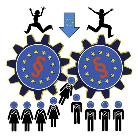 Miedo de la Unión Europea. La gente de la Unión Europea temen para ser nivelado hacia abajo a través demasiadas leyes y reglamentos