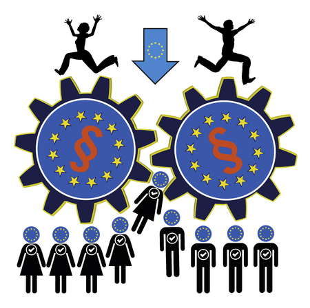 Scared of European Union. People of the European Union fear to get leveled down through far too many laws and regulations