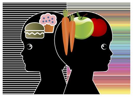 habitos saludables: Niños para cambiar los hábitos alimenticios. Diferencia entre la alimentación sana y de la chatarra que afectan a las actividades del cerebro y el rendimiento Foto de archivo