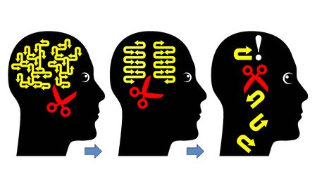decisions: Decision Making Process. Concept sign to show the different steps in order to come to the right conclusion
