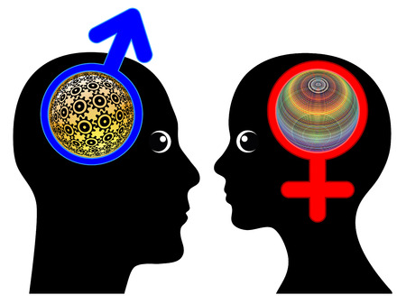 intuition: Male and Female Brains are different. Men and women tend to think in different ways, rationality versus intuition Stock Photo