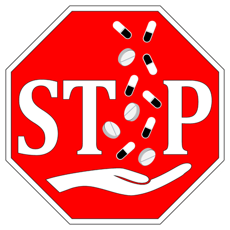 taking a risk: Stop taking pills. Concept sign to fight drug abuse and drug addiction