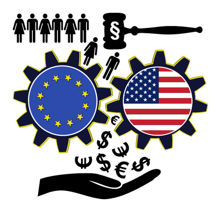 exploited: Fears over TTIP. People fear to get exploited by the Transatlantic Trade and Investment Partnership between the EU and USA Stock Photo