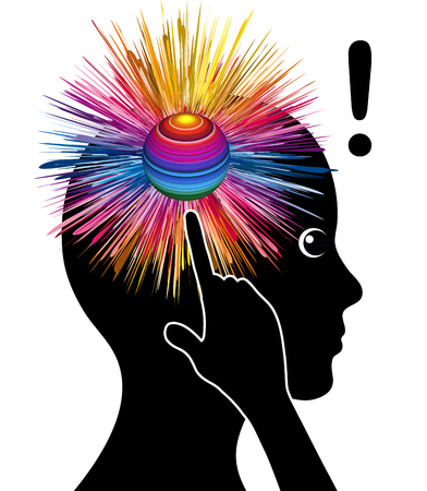 coming up with: Impact of brainstorming. Woman is coming up with a brilliant idea Stock Photo