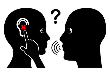 Mujer con la pérdida de audición. Problema de comunicación con la persona con discapacidad auditiva