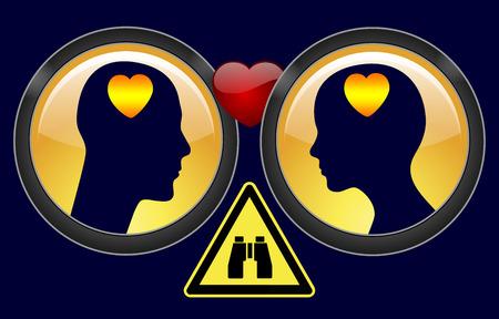 Investigación privada en Divorcio. Muestra del concepto de un detective privado para investigar la observación de los cónyuges la infidelidad Foto de archivo