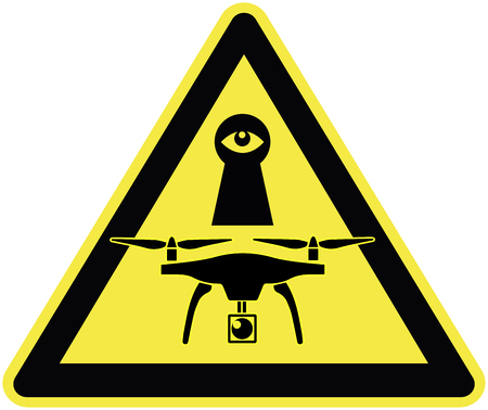 misuse: Drones are watching you. Beware of drones viola ting your privacy Stock Photo