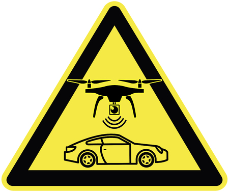 Speed ??limit enforced by Drone. Traffic sign for a new traffic enforcement strategy to track highway speeders