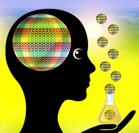 Aromatherapy. Woman stimulating her brain functions through inhaling the aroma of essential oils Standard-Bild