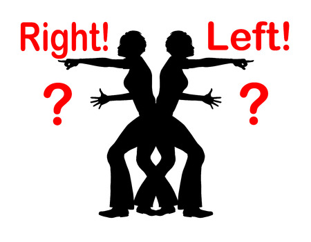 confound: Confusing Right and Left. Woman with problems to identify right from left Stock Photo