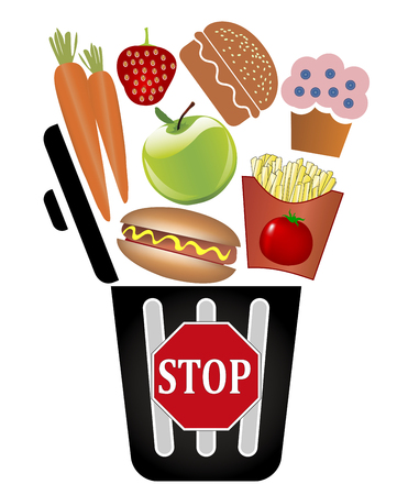 warning back: Stop throwing food away. Concept sign not to waste food stuff