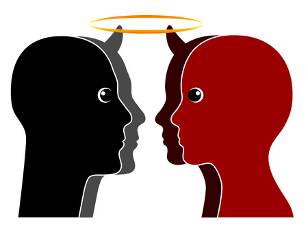 halo: Angel vs. Devil. Good and evil can be found in every human nature