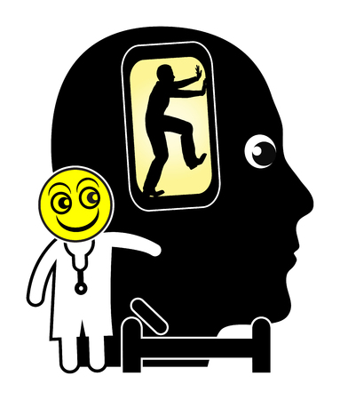 cell phone addiction: Cell Phone Addiction Treatment. Patient addicted to smart phones is getting Treated by psychiatrist