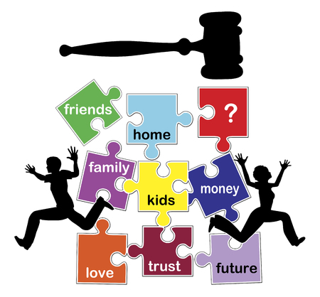 divorcing: Disastrous and damaging divorce. Concept sign of a divorcing couple losing everything