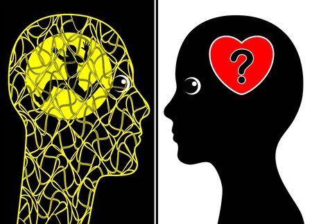 the spouse: Spouse with mental illness. Concept sign of the psychological burden dealing with mentally sick familymembers