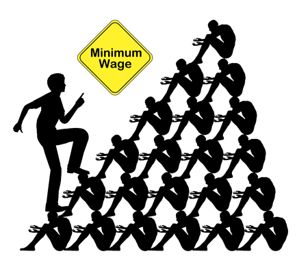 minimum wage: Paying Minimum Wage. Workers getting exploited by employer through low wages Stock Photo