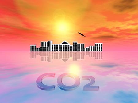 dioxido de carbono: El aumento de dióxido de carbono del nivel del mar. La concentración de CO2 que causan los desastres naturales como las inundaciones Foto de archivo