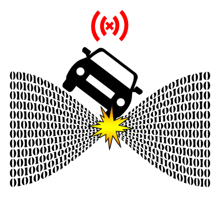 peril: Risk of Self Driving Cars. Autonomous vehicles depend on technology Which can fail and cause accidents Stock Photo