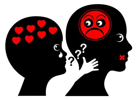 psicologia infantil: La crueldad emocional en la educación temprana. madre sin piedad descuida su niño que está pidiendo amor