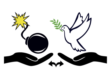 versus: Choice between Peace and War. Peaceful solution versus violence