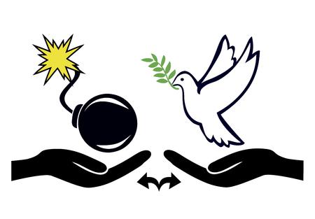 violencia: Posibilidad de elegir entre la paz y la guerra. solución pacífica contra la violencia Foto de archivo