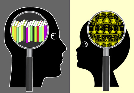 analogous: Analog versus digital brain. Traditional learning with books or implanted memory chip as futuristic vision Stock Photo