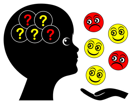 distinguish: Emotional Problem of autistic child. Boy facing difficulties to distinguish smiles from grimaces.