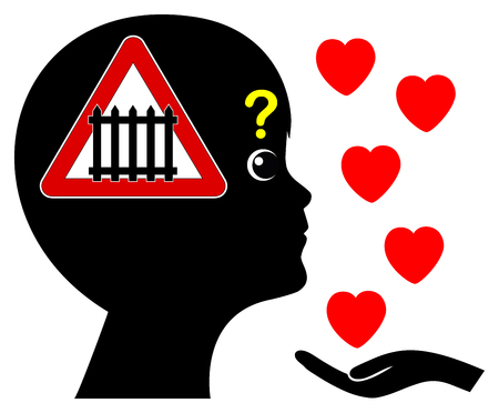 Autism and Love. Autistic child is anxiously facing difficulties reading emotions like love in other people Stock Photo