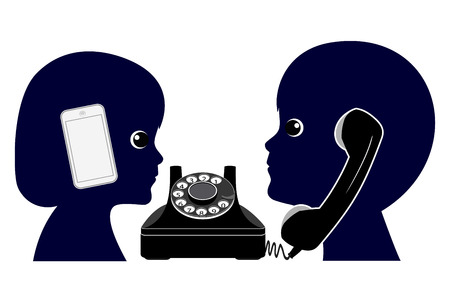 olden: Old Telephone versus Mobile Phone. Making a phone call in the olden days Compared To modern telecommunications